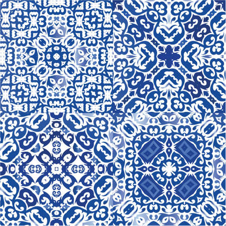 Traditional ornate portuguese azulejos. Collection of vector seamless patterns. Hand drawn design. Blue abstract backgrounds for web backdrop, print, pillows, surface texture, wallpaper, towels. Vectores