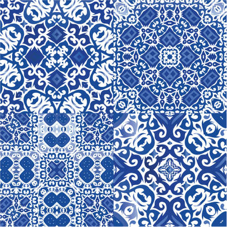 Antique azulejo tiles patchworks. Set of vector seamless patterns. Creative design. Blue spain and portuguese decor for bags, smartphone cases, T-shirts, linens or scrapbooking.