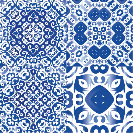 Portuguese ornamental azulejo ceramic. Set of vector seamless patterns. Creative design. Blue vintage backdrops for wallpaper, web background, towels, print, surface texture, pillows.