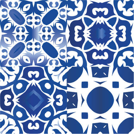 Ceramic tiles azulejo portugal. Geometric design. Kit of vector seamless patterns. Blue ethnic backgrounds for T-shirts, scrapbooking, linens, smartphone cases or bags. Vectores
