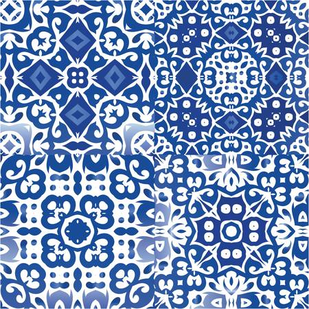 Ornamental azulejo portugal tiles decor. Kit of vector seamless patterns. Stylish design. Blue gorgeous flower folk prints for linens, smartphone cases, scrapbooking, bags or T-shirts.