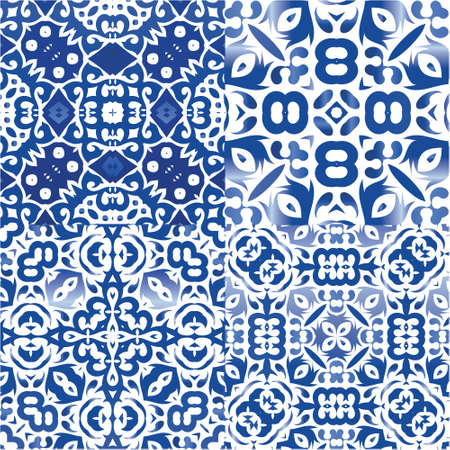 Antique portuguese azulejo ceramic. Kit of vector seamless patterns. Geometric design. Blue floral and abstract decor for scrapbooking, smartphone cases, T-shirts, bags or linens. Illustration