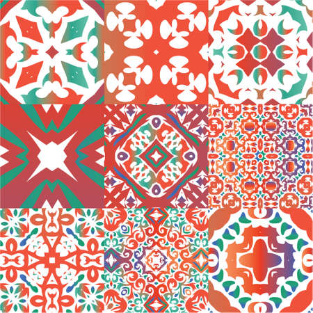 Ornamental talavera mexico tiles decor. Set of vector seamless patterns. Kitchen design. Red gorgeous flower folk prints for linens, smartphone cases, scrapbooking, bags or T-shirts. Illustration