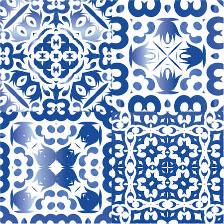 Ceramic tiles azulejo portugal. Geometric design. Kit of vector seamless patterns. Blue ethnic backgrounds for T-shirts, scrapbooking, linens, smartphone cases or bags. Illustration