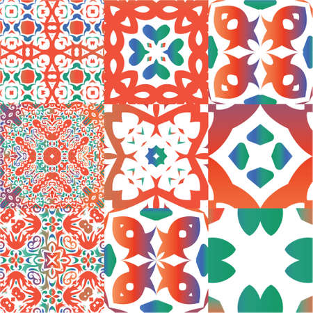 Decorative color ceramic talavera tiles. Creative design. Kit of vector seamless patterns. Red folk ethnic ornaments for print, web background, surface texture, towels, pillows, wallpaper. Illustration