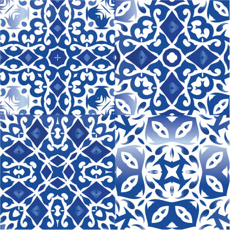 Decorative color ceramic azulejo tiles. Graphic design. Kit of vector seamless patterns. Blue folk ethnic ornaments for print, web background, surface texture, towels, pillows, wallpaper.