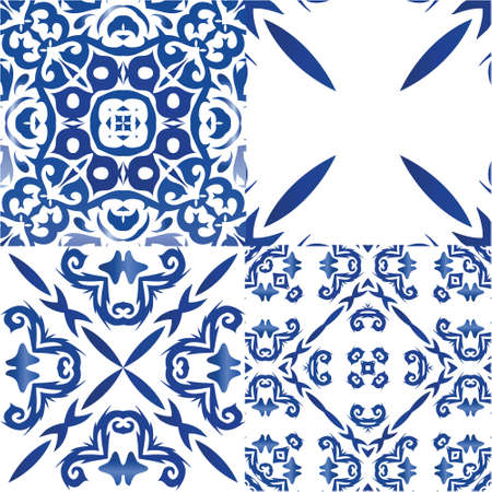 Portuguese vintage azulejo tiles. Kit of vector seamless patterns. Original design. Blue antique backgrounds for pillows, print, wallpaper, web backdrop, towels, surface texture.