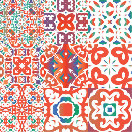 Antique mexican talavera ceramic. Stylish design. Collection of vector seamless patterns. Red floral and abstract decor for scrapbooking, smartphone cases, T-shirts, bags or linens.