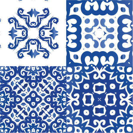 Portuguese ornamental azulejo ceramic. Collection of vector seamless patterns. Modern design. Blue vintage backdrops for wallpaper, web background, towels, print, surface texture, pillows.