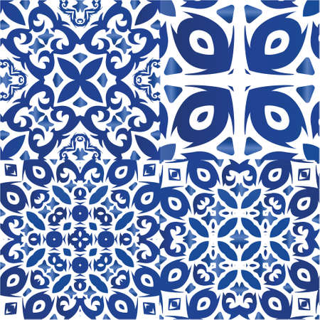 Traditional ornate portuguese azulejos. Stylish design. Collection of vector seamless patterns. Blue abstract backgrounds for web backdrop, print, pillows, surface texture, wallpaper, towels.