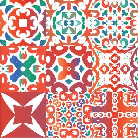 Ornamental talavera mexico tiles decor. Hand drawn design. Kit of vector seamless patterns. Red gorgeous flower folk prints for linens, smartphone cases, scrapbooking, bags or T-shirts. Illustration