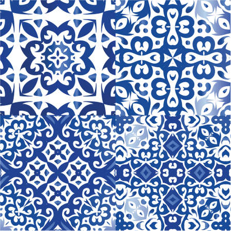 Antique portuguese azulejo ceramic. Geometric design. Kit of vector seamless patterns. Blue floral and abstract decor for scrapbooking, smartphone cases, T-shirts, bags or linens.
