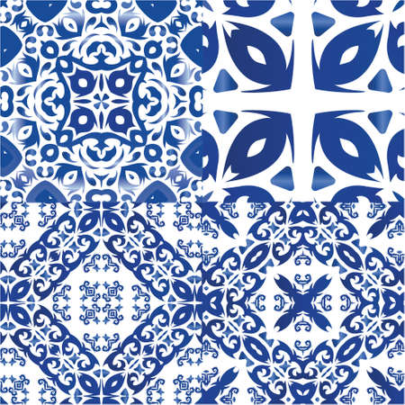 Portuguese ornamental azulejo ceramic. Bathroom design. Collection of vector seamless patterns. Blue vintage backdrops for wallpaper, web background, towels, print, surface texture, pillows.