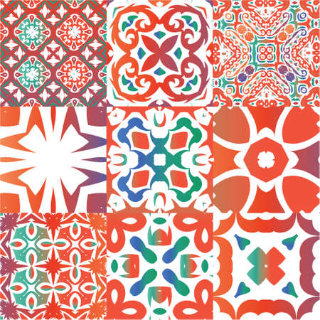 Decorative color ceramic talavera tiles. Colored design. Set of vector seamless patterns. Red folk ethnic ornaments for print, web background, surface texture, towels, pillows, wallpaper.