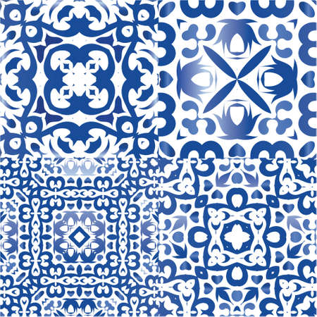 Ethnic ceramic tiles in portuguese azulejo. Stylish design. Collection of vector seamless patterns. Blue vintage ornaments for surface texture, towels, pillows, wallpaper, print, web background.