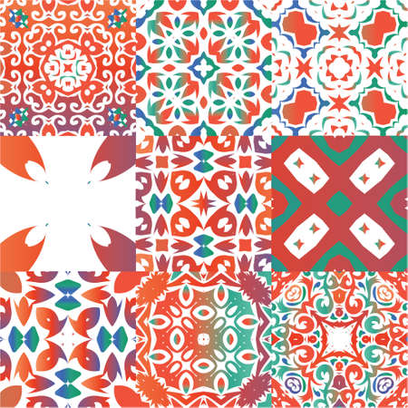 Traditional ornate mexican talavera. Modern design. Collection of vector seamless patterns. Red abstract backgrounds for web backdrop, print, pillows, surface texture, wallpaper, towels.