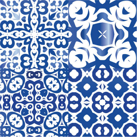 Traditional ornate portuguese azulejos. Graphic design. Set of vector seamless patterns. Blue abstract backgrounds for web backdrop, print, pillows, surface texture, wallpaper, towels.