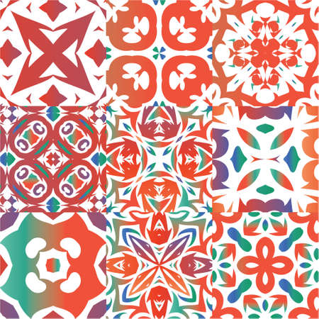 Antique ornate tiles talavera mexico. Set of vector seamless patterns. Kitchen design. Red ethnic backgrounds for T-shirts, scrapbooking, linens, smartphone cases or bags.