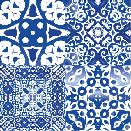 Portuguese vintage azulejo tiles. Kit of vector seamless patterns. Graphic design. Blue antique backgrounds for pillows, print, wallpaper, web backdrop, towels, surface texture. Illustration