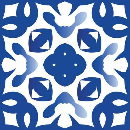 Ceramic tiles azulejo portugal. Graphic design. Vector seamless pattern concept. Blue ethnic background for T-shirts, scrapbooking, linens, smartphone cases or bags. Illustration