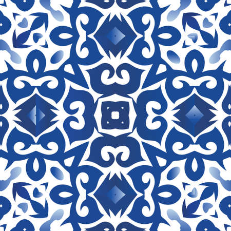 Antique portuguese azulejo ceramic. Fashionable design. Vector seamless pattern poster. Blue floral and abstract decor for scrapbooking, smartphone cases, T-shirts, bags or linens.