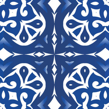 Ceramic tiles azulejo portugal. Colored design. Vector seamless pattern template. Blue ethnic background for T-shirts, scrapbooking, linens, smartphone cases or bags. Illustration