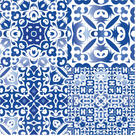 Portuguese vintage azulejo tiles. Kit of vector seamless patterns. Creative design. Blue antique backgrounds for pillows, print, wallpaper, web backdrop, towels, surface texture. Illustration