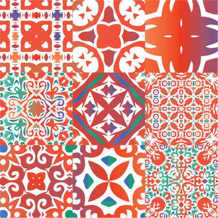 Antique talavera tiles patchworks. Stylish design. Collection of vector seamless patterns. Red mexican ornamental  decor for bags, smartphone cases, T-shirts, linens or scrapbooking.