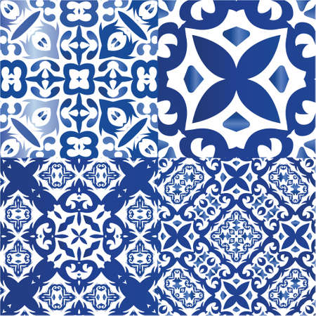 Antique portuguese azulejo ceramic. Set of vector seamless patterns. Geometric design. Blue floral and abstract decor for scrapbooking, smartphone cases, T-shirts, bags or linens.