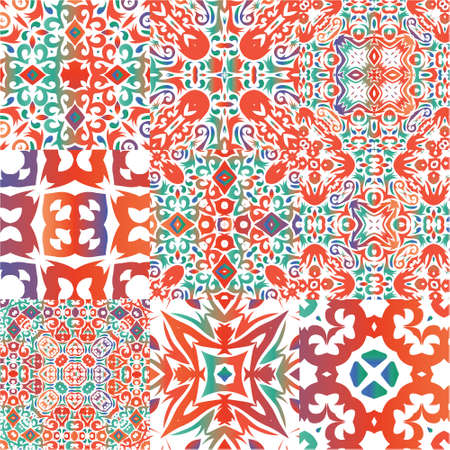 Ornamental talavera mexico tiles decor. Graphic design. Set of vector seamless patterns. Red gorgeous flower folk prints for linens, smartphone cases, scrapbooking, bags or T-shirts. Illustration