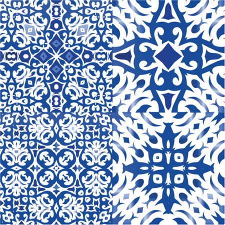 Portuguese vintage azulejo tiles. Modern design. Kit of vector seamless patterns. Blue antique backgrounds for pillows, print, wallpaper, web backdrop, towels, surface texture.