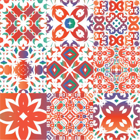 Ornamental talavera mexico tiles decor. Collection of vector seamless patterns. Stylish design. Red gorgeous flower folk prints for linens, smartphone cases, scrapbooking, bags or T-shirts. Illustration