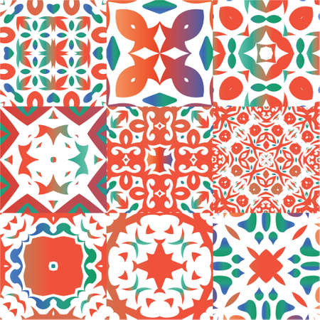 Ornamental talavera mexico tiles decor. Collection of vector seamless patterns. Kitchen design. Red gorgeous flower folk prints for linens, smartphone cases, scrapbooking, bags or T-shirts. Illustration