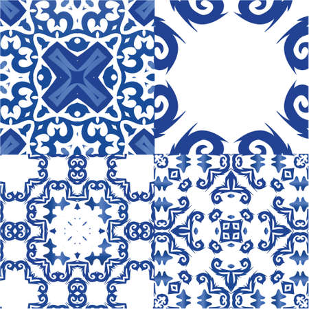 Antique azulejo tiles patchworks. Collection of vector seamless patterns. Kitchen design. Blue spain and portuguese decor for bags, smartphone cases, T-shirts, linens or scrapbooking. Illustration