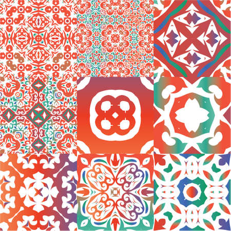 Antique talavera tiles patchworks. Stylish design. Kit of vector seamless patterns. Red mexican ornamental  decor for bags, smartphone cases, T-shirts, linens or scrapbooking. Illustration