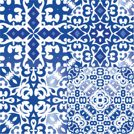 Portuguese ornamental azulejo ceramic. Collection of vector seamless patterns. Hand drawn design. Blue vintage backdrops for wallpaper, web background, towels, print, surface texture, pillows. Illustration