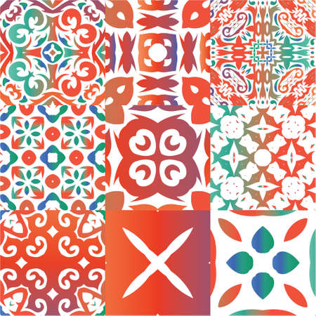 Mexican vintage talavera tiles. Kit of vector seamless patterns. Minimal design. Red antique backgrounds for pillows, print, wallpaper, web backdrop, towels, surface texture.