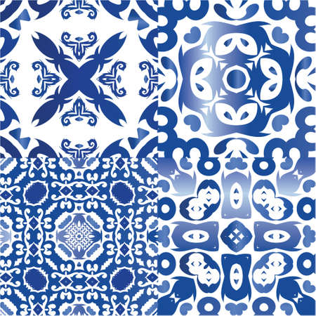 Ethnic ceramic tiles in portuguese azulejo. Collection of vector seamless patterns. Geometric design. Blue vintage ornaments for surface texture, towels, pillows, wallpaper, print, web background.