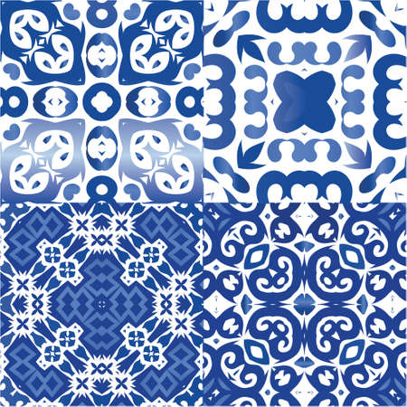 Decorative color ceramic azulejo tiles. Colored design. Collection of vector seamless patterns. Blue folk ethnic ornaments for print, web background, surface texture, towels, pillows, wallpaper.