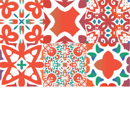 Decorative color ceramic talavera tiles. Set of vector seamless patterns. Original design. Red folk ethnic ornaments for print, web background, surface texture, towels, pillows, wallpaper.