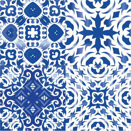 Traditional ornate portuguese azulejos. Hand drawn design. Collection of vector seamless patterns. Blue abstract backgrounds for web backdrop, print, pillows, surface texture, wallpaper, towels.