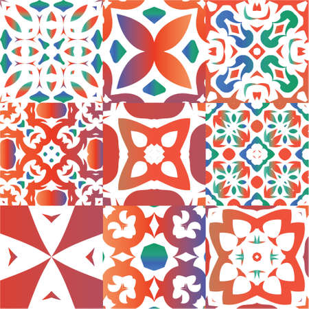 Mexican ornamental talavera ceramic. Set of vector seamless patterns. Kitchen design. Red vintage backdrops for wallpaper, web background, towels, print, surface texture, pillows.
