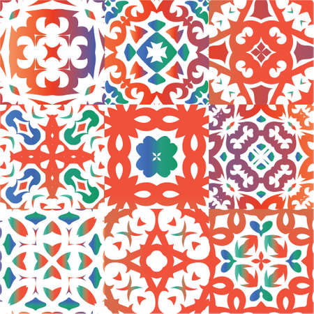 Ethnic ceramic tiles in mexican talavera. Set of vector seamless patterns. Original design. Red vintage ornaments for surface texture, towels, pillows, wallpaper, print, web background.