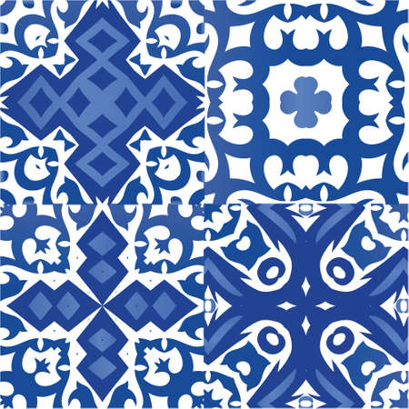 Portuguese ornamental azulejo ceramic. Kit of vector seamless patterns. Graphic design. Blue vintage backdrops for wallpaper, web background, towels, print, surface texture, pillows.