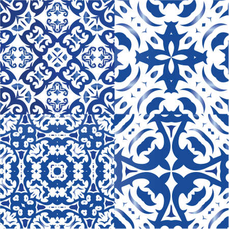 Ceramic tiles azulejo portugal. Set of vector seamless patterns. Bathroom design. Blue ethnic backgrounds for T-shirts, scrapbooking, linens, smartphone cases or bags.