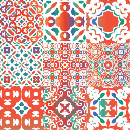 Mexican vintage talavera tiles. Universal design. Kit of vector seamless patterns. Red antique backgrounds for pillows, print, wallpaper, web backdrop, towels, surface texture.