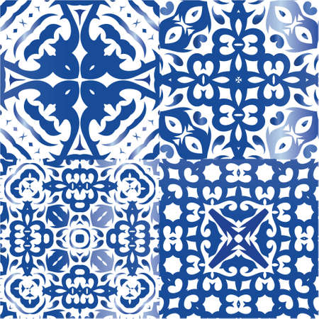 Portuguese vintage azulejo tiles. Modern design. Collection of vector seamless patterns. Blue antique backgrounds for pillows, print, wallpaper, web backdrop, towels, surface texture.