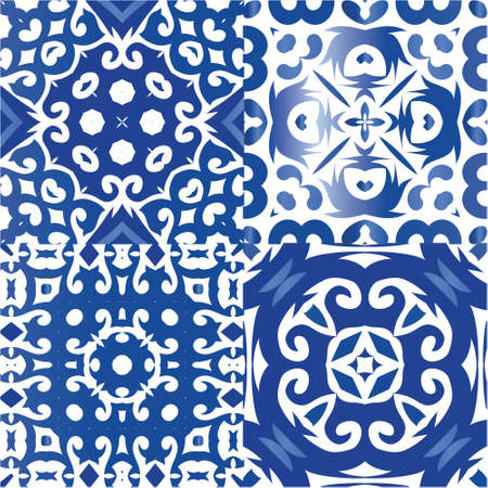 Portuguese vintage azulejo tiles. Collection of vector seamless patterns. Minimal design. Blue antique backgrounds for pillows, print, wallpaper, web backdrop, towels, surface texture. Illustration