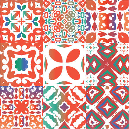 Antique ornate tiles talavera mexico. Modern design. Collection of vector seamless patterns. Red ethnic backgrounds for T-shirts, scrapbooking, linens, smartphone cases or bags.