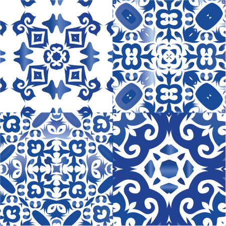 Ethnic ceramic tiles in portuguese azulejo. Collection of vector seamless patterns. Fashionable design. Blue vintage ornaments for surface texture, towels, pillows, wallpaper, print, web background.